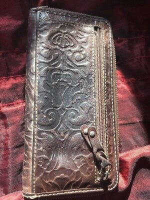 "Vintage Fossil Brown Leather Purse 1950,s 1960's ""beautiful"""