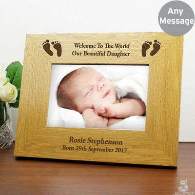 Personalised New Baby Photo Frame. Oak Finish 6x4 Newborn Picture Frame. Gift