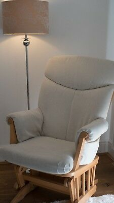 Used Dutailier Rocking Gliding Chair Cream Cushions Natural Wood