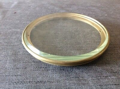Antique Clock Brass Back Door Flat Bevelled Glass 147mm Diam Glass Approx 140mm