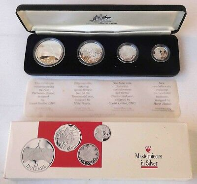 1988 Masterpieces in Silver Proof Coin Set - $5, $2, $1 & 50¢ in sterling silver