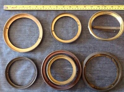 7 Antique Clock Brass Bezels Hinged From Clockmakers Spare Parts.
