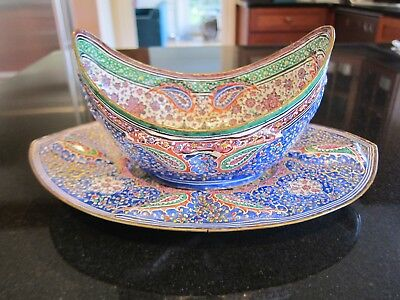 Antique Persian Minakari Copper Enamel Hand-Painted Bowl w Underplate circa 1850