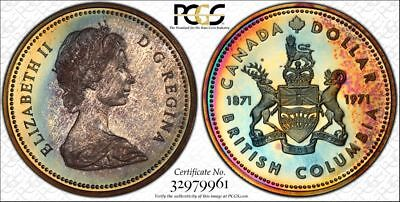 1971 Canada PCGS SP68 Superb Gem Rainbow Toned Specimen Dollar (db1424)