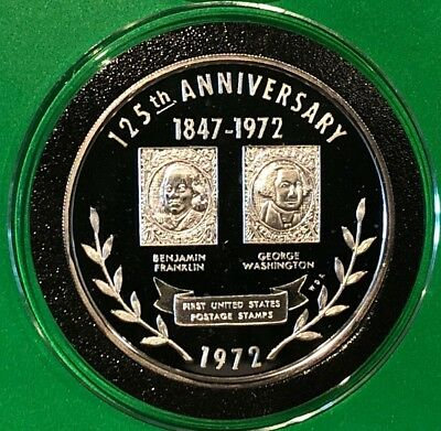 1972 125th Anniversary 1st U.S. Stamps 1 Troy Oz .999 Fine Silver Round Coin 999