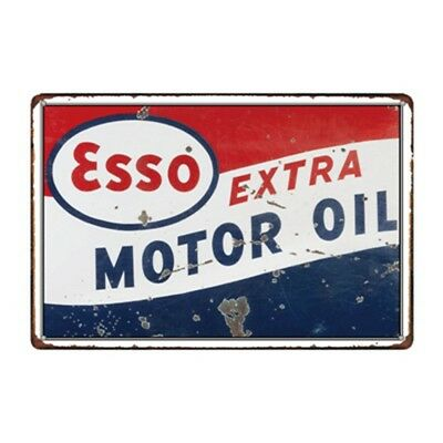 Retro Esso Petrol Tiger Motor Oil Old Vintage Tin Metal Sign Advert Garage Pub