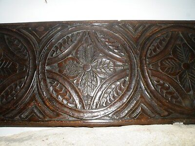 English Antique Early 18Th C. Patinated Carved Oak Panel In 17Th C. Style