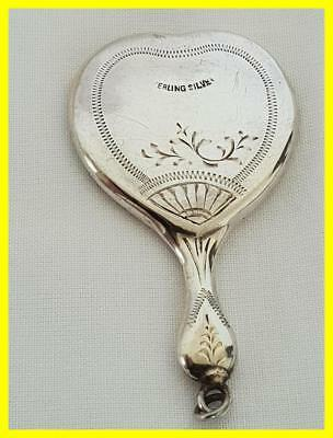 Circa 1900 Sterling Silver Handbag Or Chatelaine Miniature Mirror