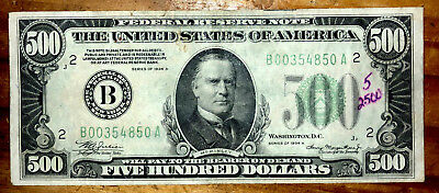 1934a 500 dollar bill rare us paper money federal reserve note 3