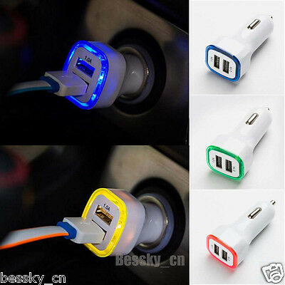 12V 2.1A LED USB Dual 2 Port Adapter Socket Car Charger For Iphone/Samsung Hot