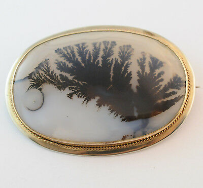 Rare Enormus Victorian Moss Picture Agate Stering Siver Gilded Brooch Pin
