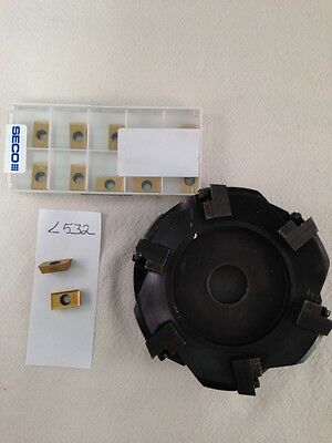 """1 Used 4"""" Indexable Shell Mill W/ 12 Seco Apkt 1604Pdr-E12. Gr: F40M {L352}"""