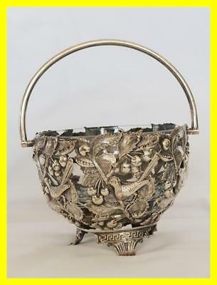 A Good Silver Plate Cherry Bowl With Inner Glass Bowl,birds & Cherries