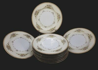 Vintage Hand Painted Meito China Japan Dinner Plates JEWEL pattern set of 11