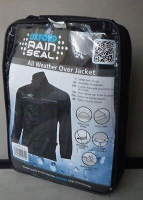 Oxford Rain Seal Weather Black 100% Waterproof Motorcycle Over Jacket Size 4XL