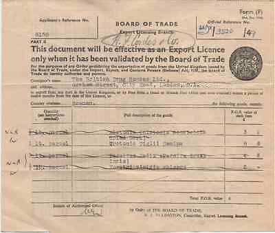 UK/GB validated export licence 1949 Board of Trade;The Drug house, London Bremen
