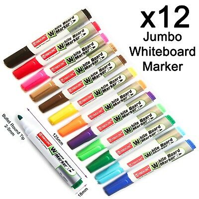 12 Large volume Hot mixed colours Whiteboard marker pen easy dry wipe bullet tip