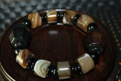 Handwork Decoration Agate Carved Natural Texture Inlay Beads Beautiful Bracelet