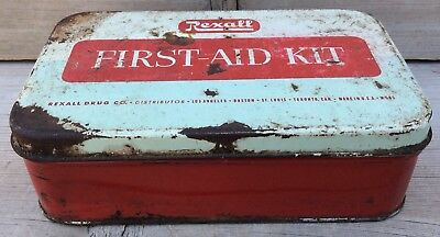 Vintage Rexall First Aid Kit Tin Empty