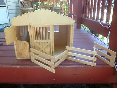 Large (Breyer Size Horse) Children's Wooden Toy Horse Stable Barn w/ Fence