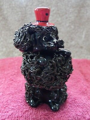 """Poodle figurine ceramic & """"spaghetti"""" wire sitting up brown w/ red hat"""