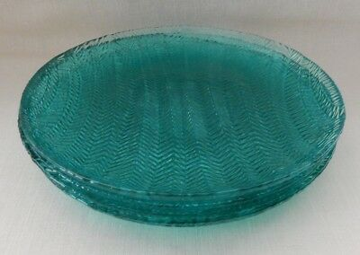 "Set of 4 Teal Herringbone 7 3/4"" Salad Luncheon Sandwich Plates Arcoroc"
