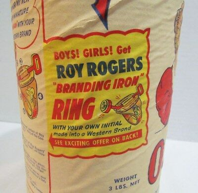 ROY ROGERS BRANDING IRON RING PREMIUM OFFER ON MOTHER'S OATS CEREAL BOX c. 1948
