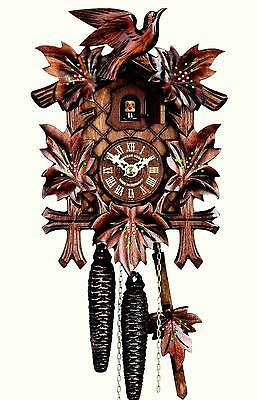 Hubert Herr,  new 1 day cuckoo clock  with 5 leaves with hand  painted flowers.