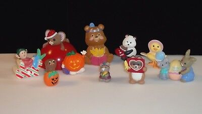 Hallmark Merry Miniatures Lot of 10 vintage figures from 5 mixed Holiday seasons