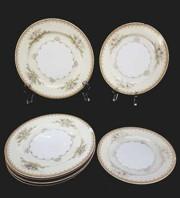 Vintage Hand Painted Meito China Japan 5 Salad and 2 Bread Plates Lot of 7