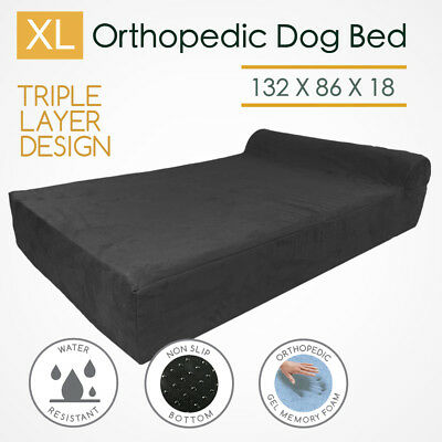 XL Orthopedic Memory Foam Dog Bed 3-Layer Mattress Extra Large Bolster Big