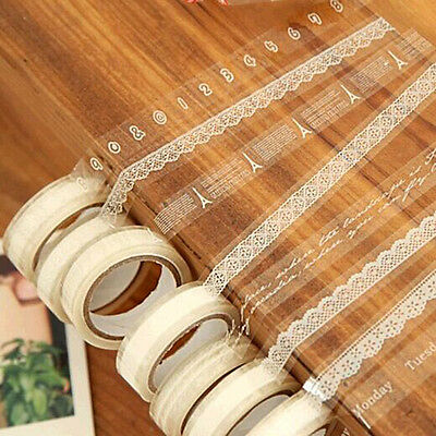 3PCS Roll DIY Wasi Paper Lace Decorative Sticky Paper Masking Tape Ades s