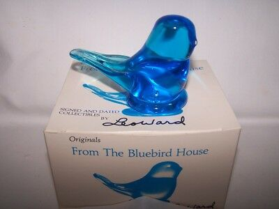 Bluebird of Happiness Paperweight w/ Box  Leo Ward Signed & Dated 1998