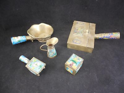 5 Piece Lot of Chinese Brass and Peking Enamel  2 Stampholders, a Dumbwaiter