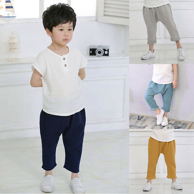 Children Kid Linen Soild Pleated Pants Casual Fashion Ankle Length Trousers New