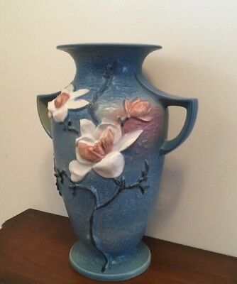 Roseville Magnolia Vase Blue 91 8 Double Handle 10 12 Wide