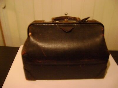 Antique Leather Doctor's Bag with Key