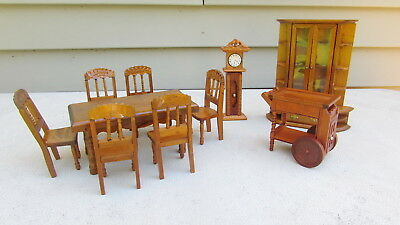 Oak Miniature Dining Room Set For Doll House 10 Pieces China, Table, Chairs ++