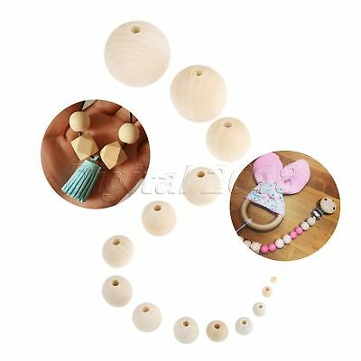 1Set 4-50mm Round Wood Ball Bead Spacer Natural Unfinished DIY Craft Jewelry