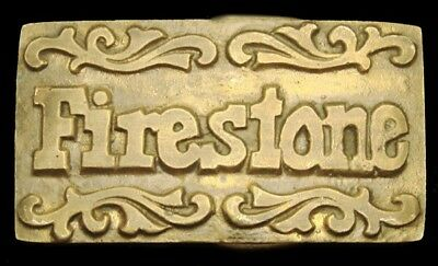 LG04137 VINTAGE 1970s ***FIRESTONE*** TIRES LOGO SOLID BRASS BELT BUCKLE