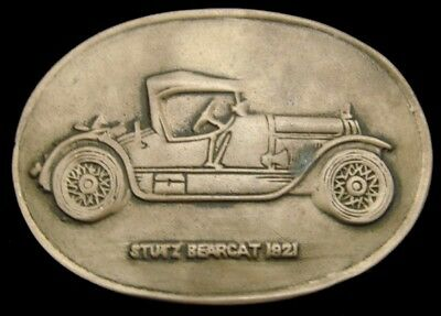 LG12158 VINTAGE 1970s ***1921 STUTZ BEARCAT*** AUTOMOBILE SOLID BRASS BUCKLE