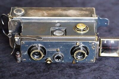 ANTIQUE 'VERASCOPE' STEREO FILM PLATE CAMERA  ZEISS LENSES c1903. WITH MAGAZINE.