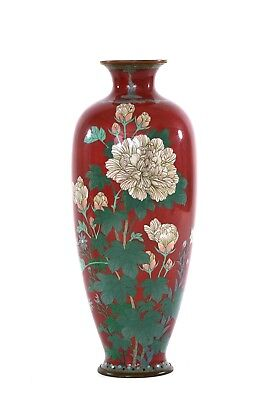 1900's Japanese Coral Red Cloisonne Enamel Shippo Vase with Flowers