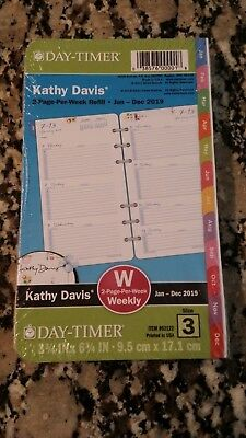2019 Kathy Davis Floral Planner Refill 2 Page Per Week Day-Timer Size 3 Weekly