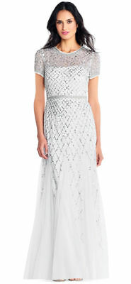 d23eefc09f Adrianna Papell Ivory Silver Short Sleeve Beaded Godet Gown NWT Size 2 4  $320