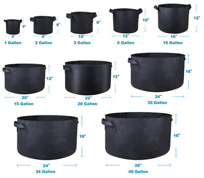 1/3/5/10/40/200 Gallon Fabric Grow Pots Breathable Plant Pack Smart Bag + handle