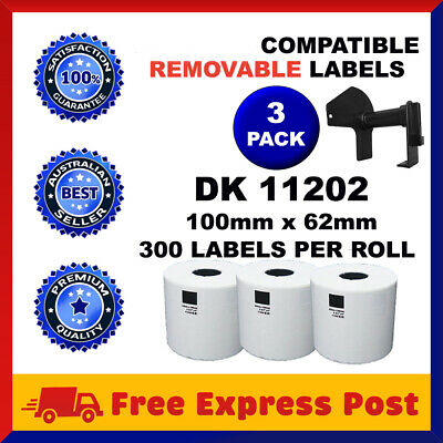 3 Rolls DK-11202 Compatible Brother Printer DK 11202  REMOVABLE Adhesive Labels