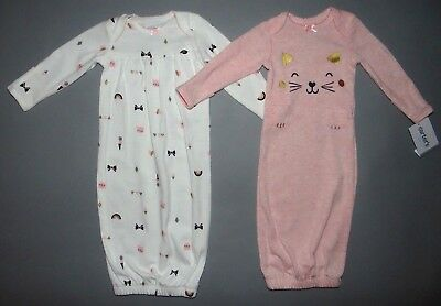 Baby girl clothes, Preemie, Carter's 2 Cotton Gowns