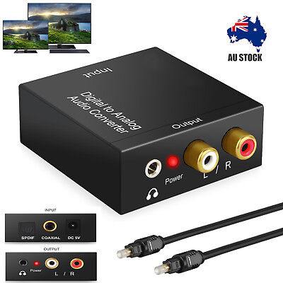 Digital Optical Coax Coaxial Toslink to Analog Audio Converter RCA Adapter Cable