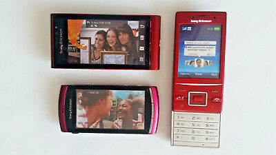 3 Stück Sony Ericsson in Rot Handy Dummy Attrappen Sammlung - Deko, Requisite